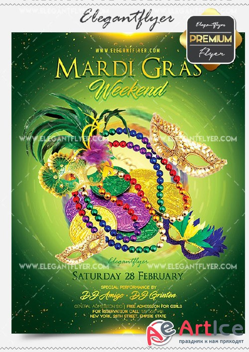 Mardi Gras Weekend Flyer PSD V3 Template + Facebook Cover