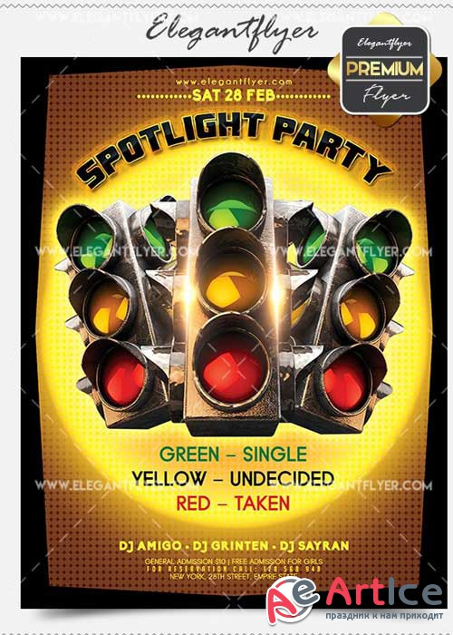 Spotlight Party Flyer PSD V02 Template + Facebook Cover