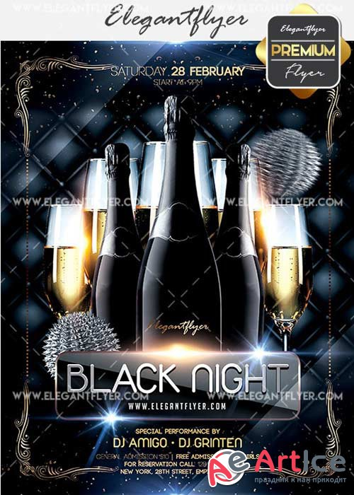 Black Night Flyer PSD V11 Template + Facebook Cover