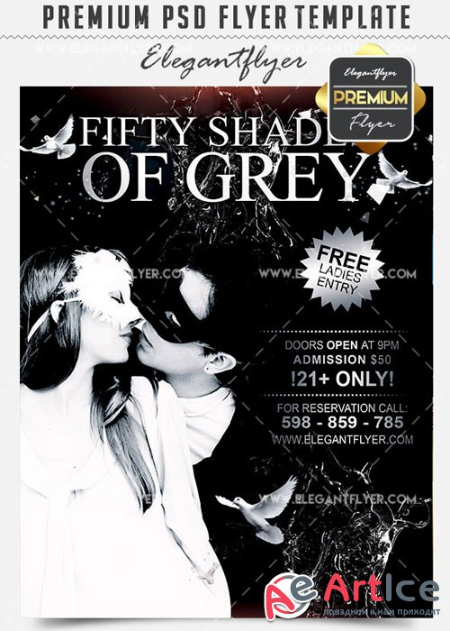 Fifty Shades of Grey Flyer PSD V16 Template + Facebook Cover
