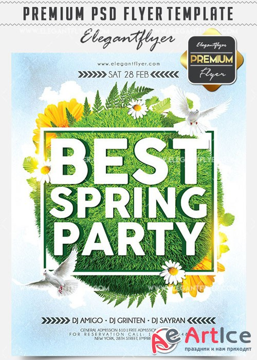 Best Spring Party Flyer PSD V11 Template + Facebook Cover