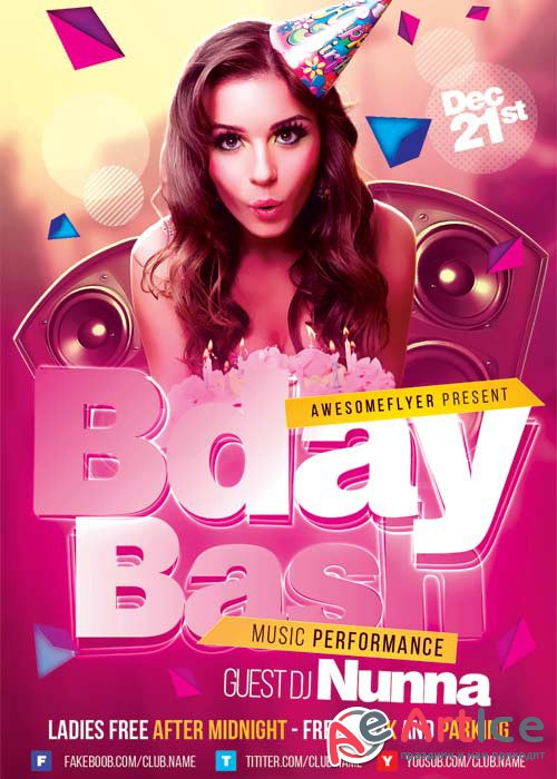 Bday Bash V9 Flyer Template