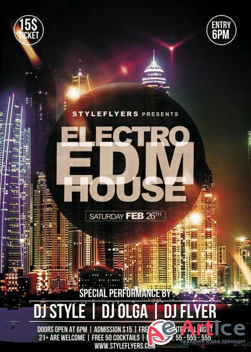 EDM Electro House V8 PSD Flyer Template