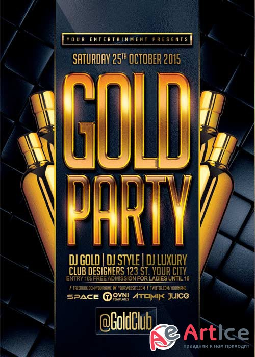 Gold Party V9 Flyer Template
