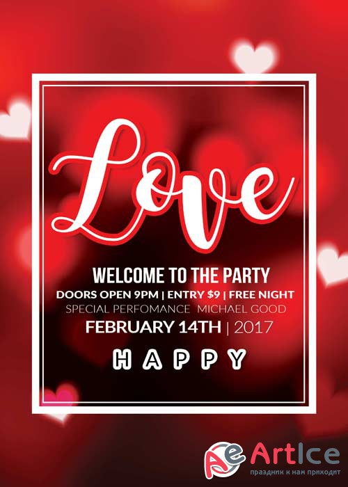 Valentines Party Flyer V40 Template