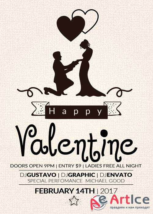 Valentines Party Flyer V43 Template