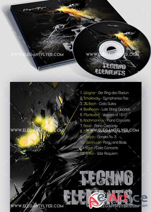Techno Elements V1 Premium CD Cover PSD Template