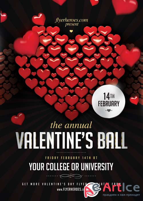 Valentines Ball V4 Flyer PSD Template