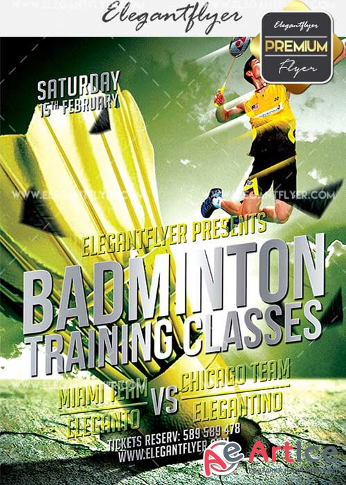 Badminton V5 Flyer PSD Template + Facebook Cover