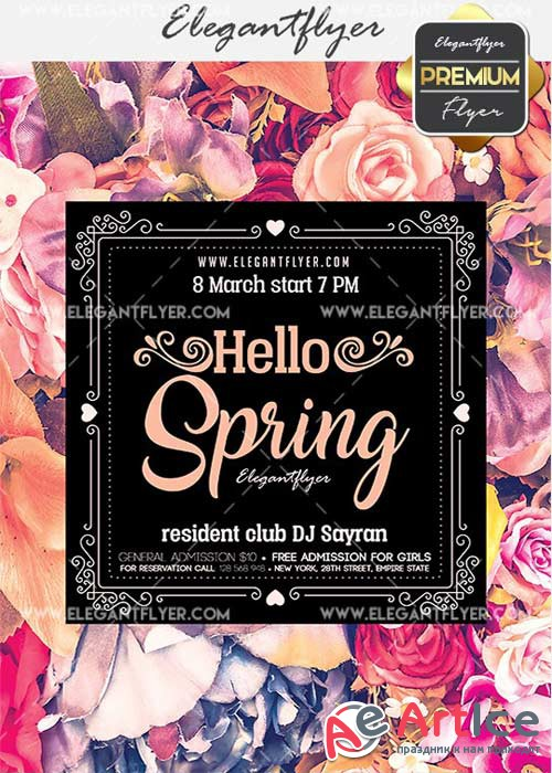 Hello Spring V02 Flyer PSD Template + Facebook Cover