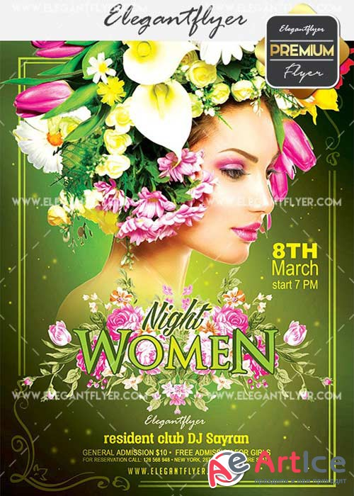 Women Night V11 Flyer PSD Template + Facebook Cover