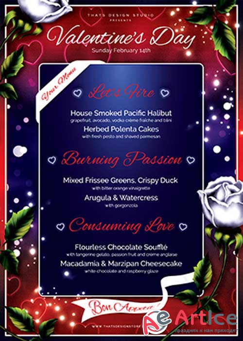 Valentines Day Menu Template V3