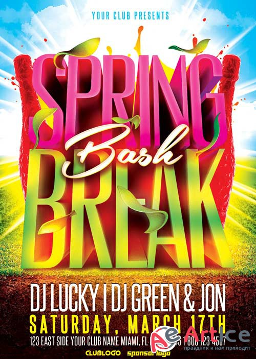 Spring Break Bash V8 Flyer Template