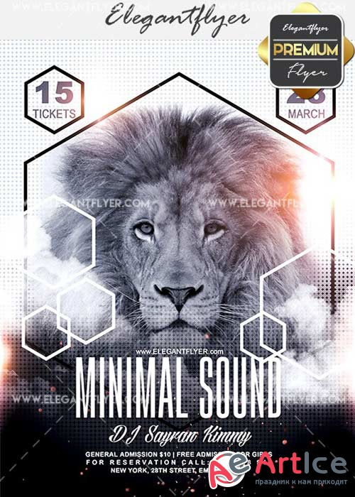 Minimal Sound V14 Flyer PSD Template + Facebook Cover