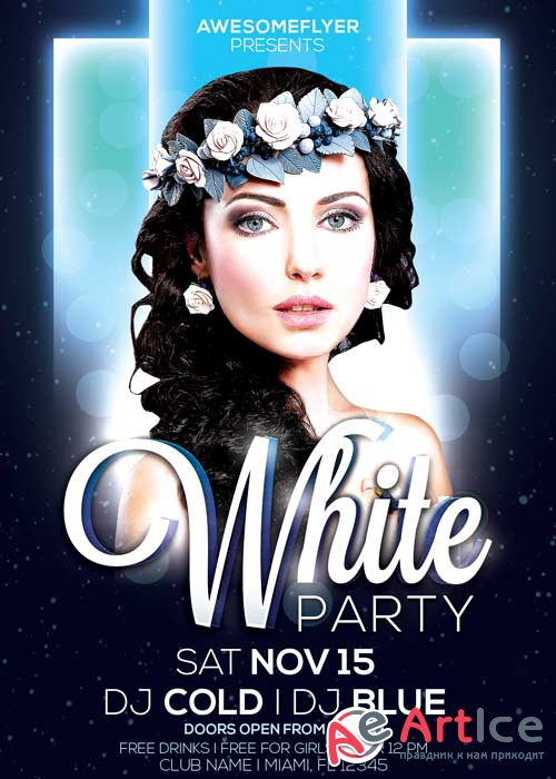 White Night Party V9 Flyer Template