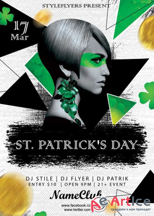St. Patrick's Day V15 PSD Flyer Template with Facebook Cover
