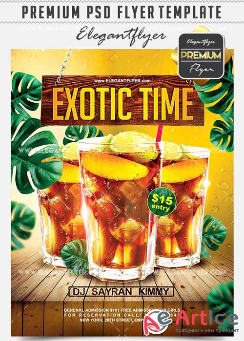 Exotic Time Flyer PSD V12 Template + Facebook Cover