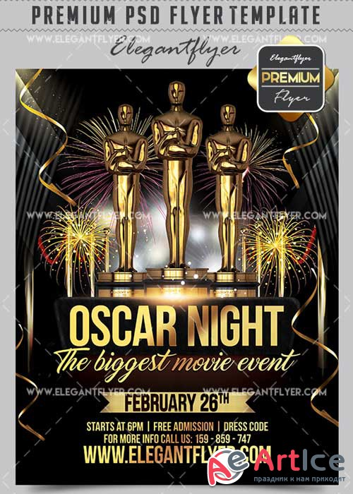 Oscar Night Flyer PSD V14 Template + Facebook Cover