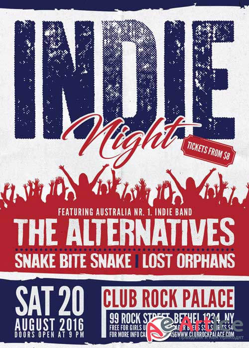 Indie Rock Alternative Party V8 Flyer Template