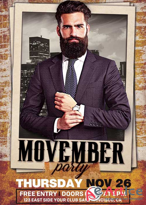 Movember Party V9 Flyer Template