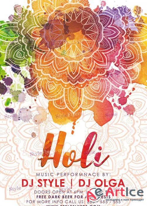 Holi V6 PSD Flyer Template