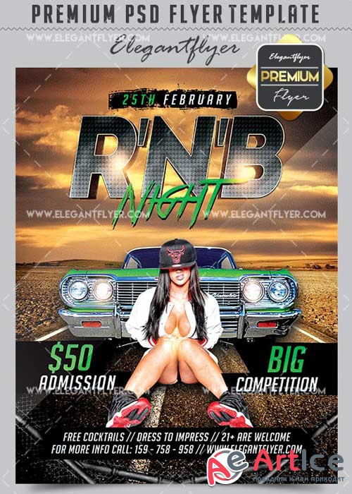 R'n'B Night V5 Flyer PSD Template + Facebook Cover