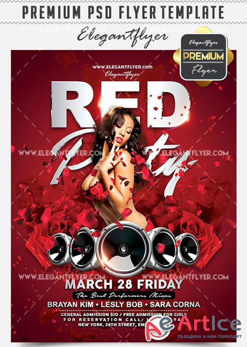 Red Party V10 Flyer PSD Template + Facebook Cover