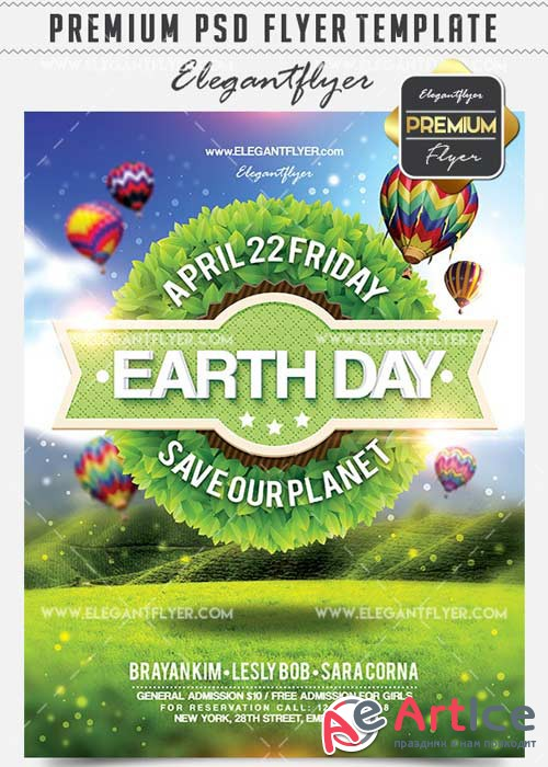 Earth Day V6 Flyer PSD Template + Facebook Cover