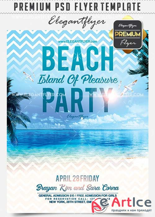 Beach Party Island Of Pleasure V9 Flyer PSD Template + Facebook Cover