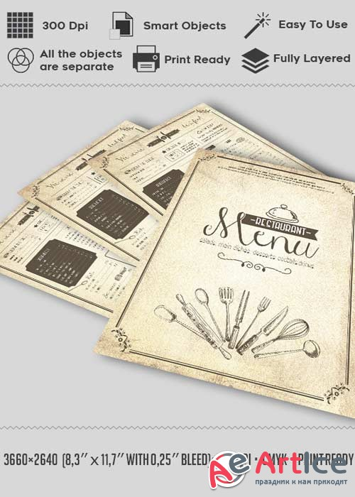 Vintage Menu V7 Flyer PSD Template