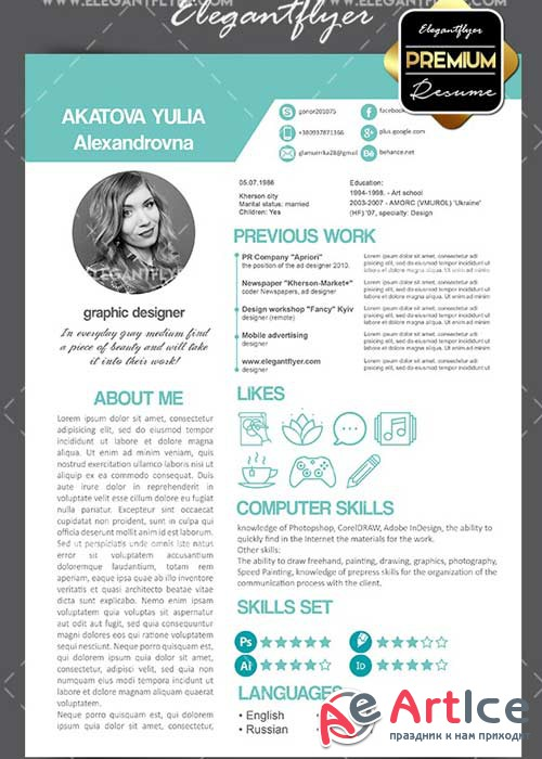 CV Premium CV and Cover Letter PSD V19 Template