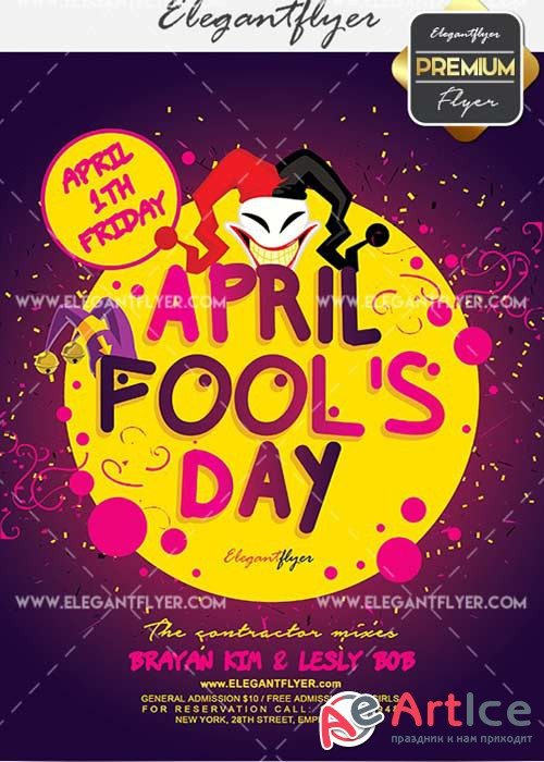 April Fool's Day Flyer PSD V12 Template + Facebook Cover