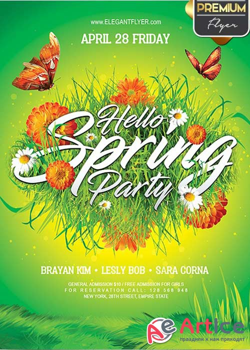 Hello Spring Party V10 Flyer PSD Template + Facebook Cover