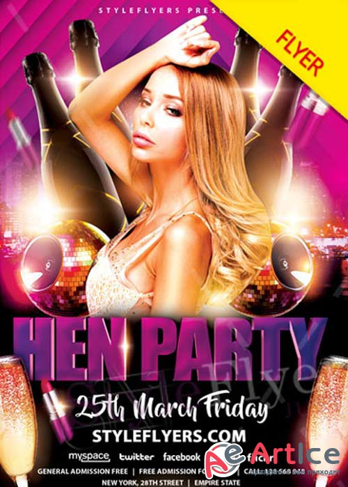 Hen Party V9 PSD Flyer Template
