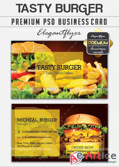 Tasty Burger V5 Premium Business card PSD Template