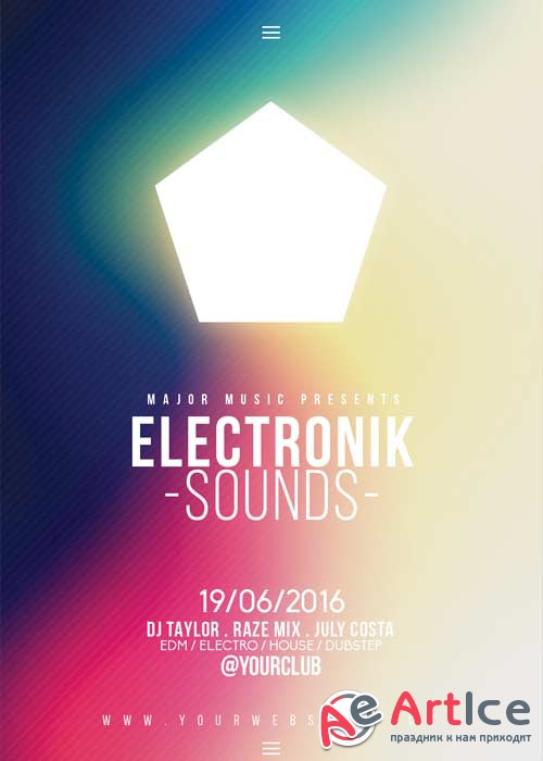 Electronic Sounds V10 Flyer Template