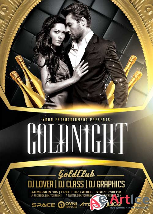 Gold Night V12 Flyer Template