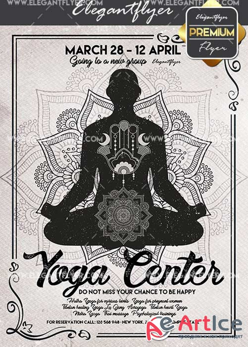 Yoga Center V12 Flyer PSD Template + Facebook Cover