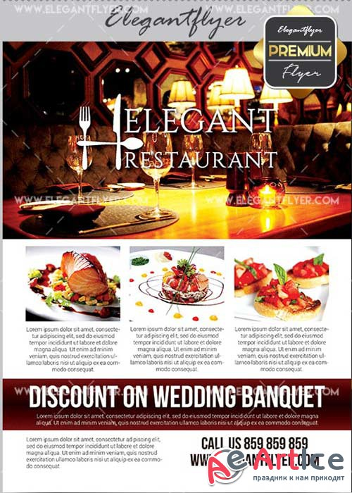 Elegant Restaurant V11 Flyer PSD Template + Facebook Cover