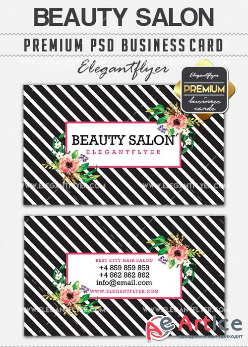 Beaty Salon V3 Premium Business card PSD Template