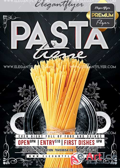 Pasta Time V10 Flyer PSD Template + Facebook Cover