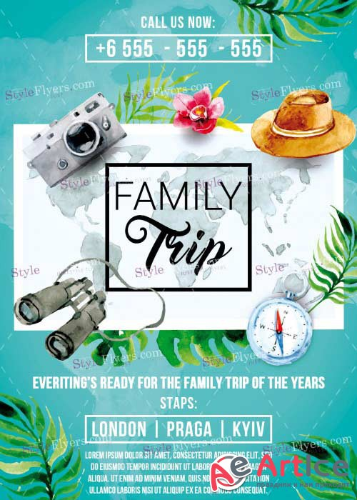 Family Trip V14 PSD Flyer Template