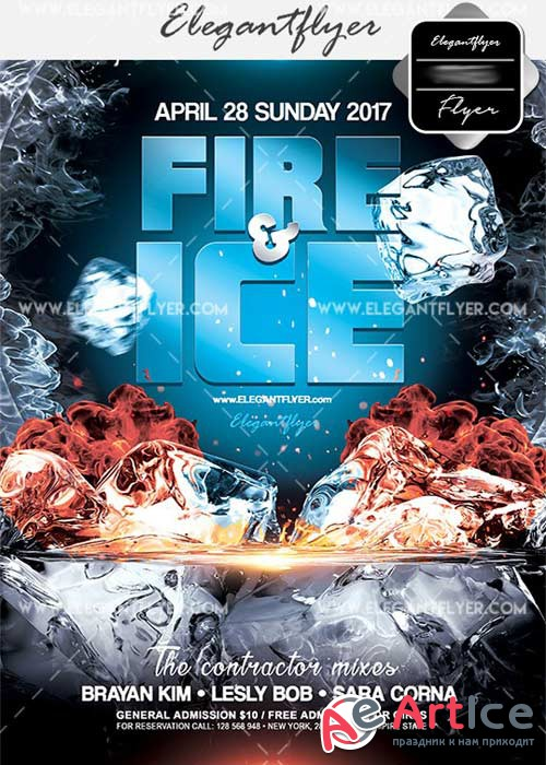 Fire and Ice V3 Flyer PSD Template + Facebook Cover