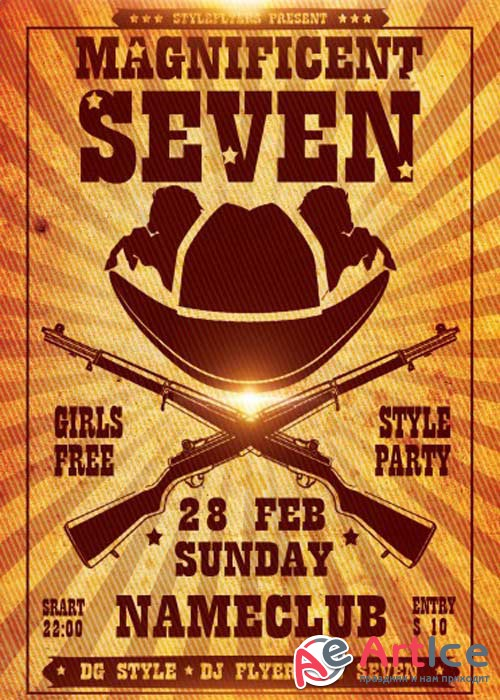 The Magnificent Seven V1 PSD Flyer Template with Facebook Cover