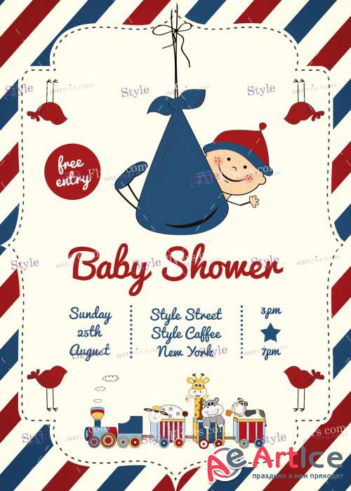 Baby Shower V9 PSD Flyer Template