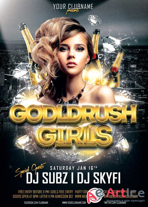 Goldrush Girls Club V10 Flyer Template