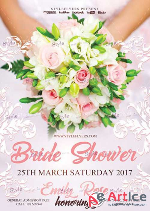 Bride Shower V20 PSD Flyer Templat