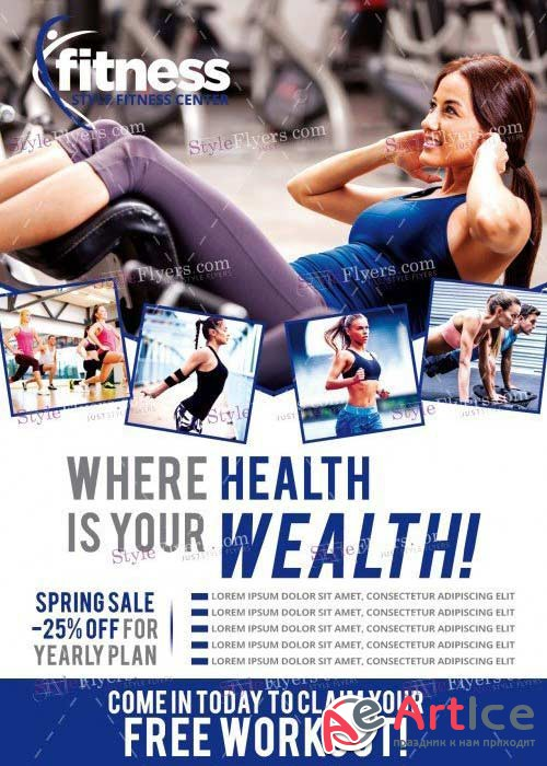 Fitness V29 PSD Flyer Template