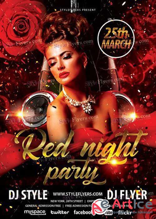 Red Night Party V15 PSD Flyer Template