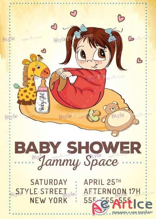 Baby Shower V12 PSD Flyer Template
